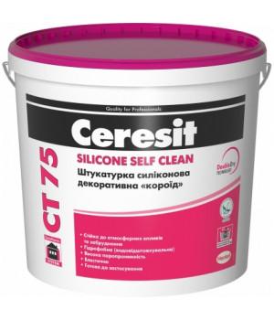Штукатурка силиконовая CERESIT CТ 75  декоративная «короед» 2 мм (25 кг)