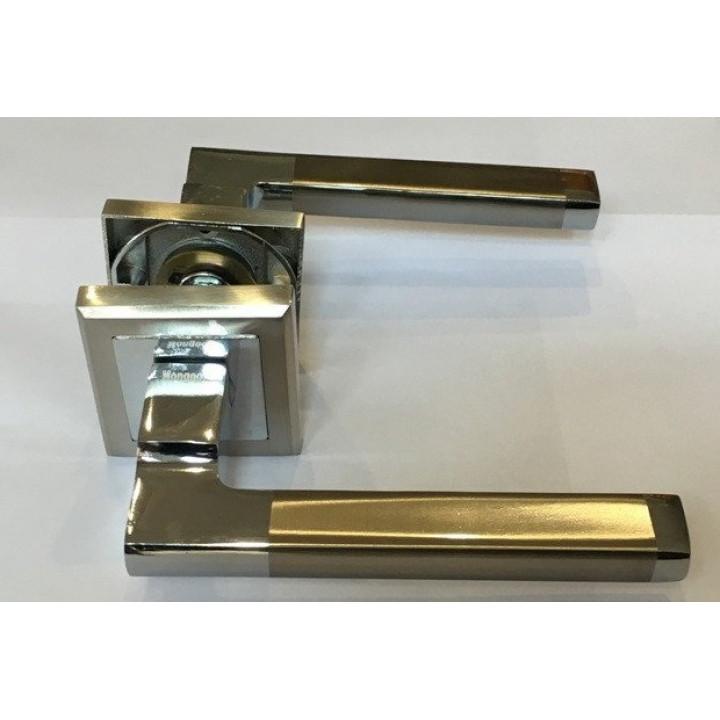 Ручка дверная на квадратной розетке Mongoose 893 (сатин/хром/без защелки)