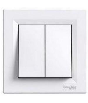 Выключатель 2-клавишный белый Schneider Asfora EPH0300121