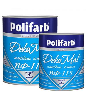 Эмаль алкидная Polifarb DekoMal ПФ-115 ГОСТ (Полифарб)  0,9 кг/белая
